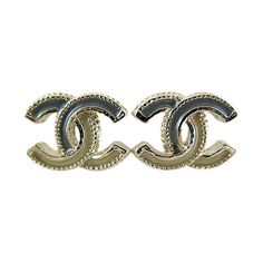 Pre-Owned Chanel Two Tone Classic CC Earrings Ear Studs ($550) ❤ liked on Polyvore featuring jewelry, earrings, multi, multi color stud earrings, chanel jewelry, chanel, earrings jewelry and multi colored stud earrings