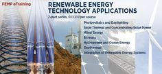 """Free, online training courses on Renewable Energy Technology Applications. From solar to wind, small-scale hydropower, and bioenergy, these training modules support agencies' efforts to improve energy security, reduce environmental impact, while providing electricity, heating, cooling, and more. <a href=""""https://www4.eere.energy.gov/femp/training/?keyword=&series[0]=93"""">Renewable Energy Technology Applications</a> are available through the Federal Energy Management Program."""