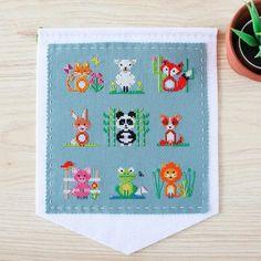 Animal Sampler Cross Stitch Wall Hanging Kit