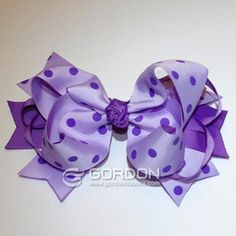 Boutique Purple and Purple Dots Hair Bow