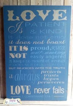 """Love is patient and kind Corinthians 13:4-7 blue wooden sign 16"""" x 24"""" - pinned by pin4etsy.com"""