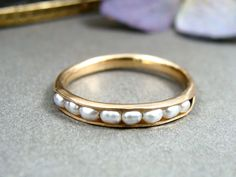 petite pearl stack ring ... 14k gold fill by sirenjewels on Etsy