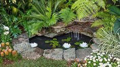 Marvelous Small Front Garden Design With Waterfall Ideas 0198 - Pond & water features - Pond Landscaping, Landscaping With Rocks, Waterfall Landscaping, Landscaping Design, Backyard Water Feature, Ponds Backyard, Large Backyard, Backyard Ideas, Pond Design