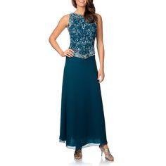Scroll beading on the bodice of this gown makes it uniquely elegant. This teal sleeveless dress includes a sheer scarf to complete the feminine ensemble.