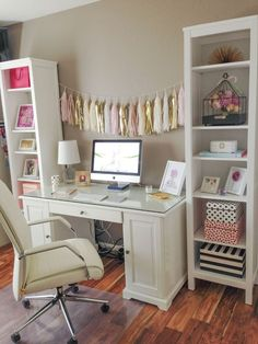 Bright, clean, white, organized office / workspace. I love the pops of pink and gold. What a pretty home office!