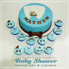Baby Boy Christening Themed Cake and Cupcakes Baby Boy Christening, Christening Cakes, Cupcake Cakes, Cupcakes, Themed Cakes, Birthday Cake, Baby Shower, Desserts, Baptism Cakes