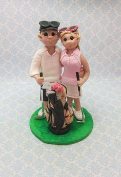 Golf Themed Wedding Cake Topper by lynnslittlecreations on Etsy