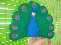 SAM Finger Puppets - Peacock. $3.50, via Etsy.