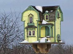Antique yellow and green Victorian bird house-for my antique loving bird buddies