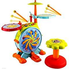 WolVol Electric Big Toy Drum Set for Kids with Movable Working Microphone to Sing and a Chair - Tons of Various Functions and Activity, Bass Drum and Pedal With Drum Sticks (Adjustable Volume). * You can get additional details at the image link. (This is an affiliate link) #MusicalInstruments