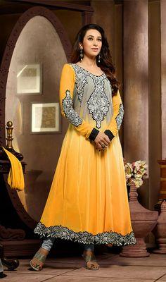 Karisma Kapoor Yellow and Gray Georgette Anarkali Suit Price: Usa Dollar $78, British UK Pound £46, Euro58, Canada CA$85 , Indian Rs4212