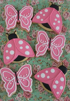 Butterfly and ladybug cookies by Miss Biscuit