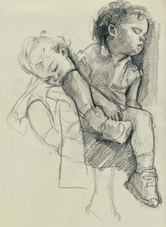 Five drawings of my sleeping children, Julia and Will. A lovely subject as close to my heart as a subject can get. Sketchbook Drawings, Cool Art Drawings, Drawing Sketches, Pencil Drawings, Figure Sketching, Figure Drawing, Figure Painting, Painting & Drawing, Children Sketch