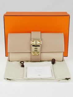 1603d923e Authentic Hermes Argile Tadelakt Leather Permabrass Medor Clutch Bag at Yoogi's  Closet.