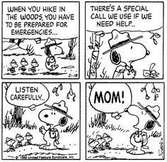Snoopy's hike in the woods emergency call