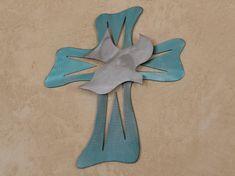 Metal wall cross with dove Rustic Sculptures, Wire Tree Sculpture, Modern Wall Art, Wood Wall Art, Cross Art, Reclaimed Wood Art, Metal Garden Art, Southwestern Decorating, Wall Crosses