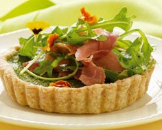 Green Herb Tart with Arugula and Serrano Ham Salad
