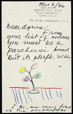 Letter from sculptor Alexander Calder (1898-1976) to educator, collector, and director of the Vassar Art Gallery, Agnes Rindge Claflin, concerning the colors of one of his works, June 6, 1939. Caption from link