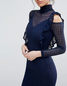 TFNC Lace Bodycon Dress With Frill Flutter Sleeves - Front