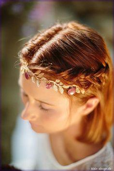 Haarkette Haarband gold blätter lila~   fleure 9 von kido-design auf DaWanda.com