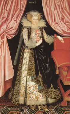 By the early 1610s the embroidered jackets were being worn as formal wear with embroidered petticoats (skirts) and open-front sleeveless silk gowns, as seen in this William Larkin portrait of Dorothy Cary.