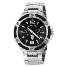 U.S. Polo Assn. Men's USC80039 Rimmed Bezel Black Dial Link Watch Watches