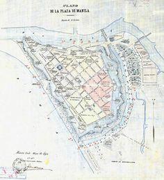 Spanish map of the Intramuros. Manila, Fort Santiago, Philippine Architecture, Jose Rizal, Intramuros, Uk Visa, Old And New, Old Photos, Planer