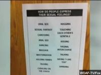 The father of a 13 year-old girl who was upset by a classroom poster that listed sex acts was shocked to hear that the poster is part of her school's health and science curriculum.