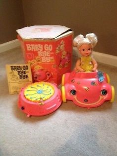 1969 Vintage Mattel Baby Go Bye Bye Doll In Her Bumpety Buggy & Original Box