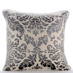 Paloma Gray Damask - 16 x 16 Burnout Velvet Throw Pillow.