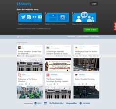 Storify в шапке разместила элемент Посадочной страницы: пошаговая штука для регистрации пользователей