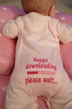 Downloading a dump - baby filling its nappy joke baby grow / sleep suit