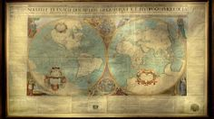 first French double hemisphere wall map, produced in 1672 by Jean Boisseau