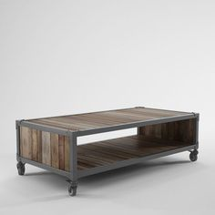Reclaimed Teak Coffee Table - This industrial coffee table is constructed from reclaimed solid teak and recycled iron with a powder coated f...