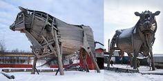 Miina Äkkijyrkkä's wooden sculpture, Power-Bull (size 16 x 6 x 12 meters) Marimekko, Finland, Size 16, Modern Art, Louvre, Culture, Artists, Building, Image