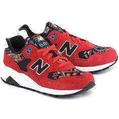 68d0f239925 NEW BALANCE Classics Traditionnels 580 - Czerwone Zamszowe Sportowe Damskie   mivo  mivoshoes  shoes