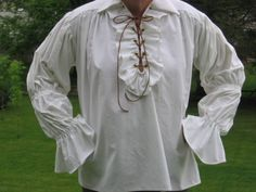 Custom Made Renaissance medieval tudor pirate lace up ruffled shirt chemise blouse