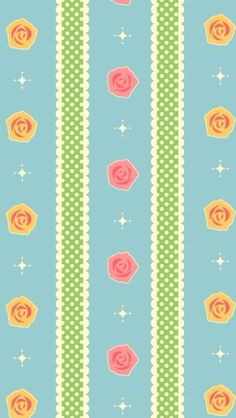 Blue pink yellow vintage retro roses spots dots iphone wallpaper phone background lock screen