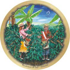 chapoleras - recolectores de cafe Colombian Coffee, Decoupage, Vintage Labels, Coffee Art, Red, Bag, Mosaics, Paintings, Watercolor Pencils