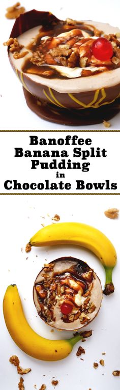 Enjoy this delicious banana split pudding on its own or in a cute little chocolate bowl made with a balloon!