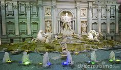 Luxurious interior of Lotte World commercial centre in Seoul, South Korea. Roman Trevi fountain replica.