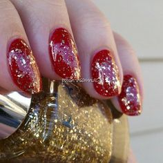 NYX Gilded Glitter over Deborah Lippmann My Old Flame nail polish