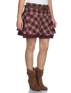Falda de corte trapecio con estampado a cuadros + cinturón trenzado