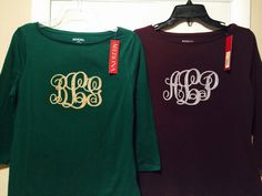 Monogrammed shirts for Amelia and Bethany.