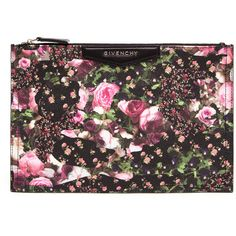 GIVENCHY Abstract Floral Leather Clutch found on Polyvore