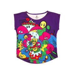 Purple MultiColored Doodle Graphic Tee ($52) ❤ liked on Polyvore featuring tops, t-shirts, colorful tops, purple top, multicolor t shirt, purple tee and multi color tops