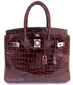 Hermes Birkin Bag 30cm Bordeaux Porosus Crocodile Palladium Hardware #hermes