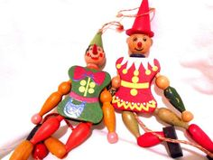 Vintage Pair of Wooden Jumping Jack Christmas Ornaments Toys Made ...