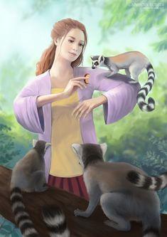 My Lemur Friends - digital painting by Adrienn Ecsedi Ring-tailed lemurs are one of the endangered . Flying Lemur, Fantasy Paintings, Digital Paintings, Fruit Painting, Tree Leaves, Endangered Species, Love Art, Lemurs, Habitats