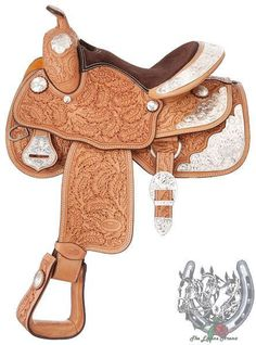"14"" Silver Royal Youth Show Saddle Light Oil Oak Leaf Tooling Loaded w/Silver #SilverRoyal"